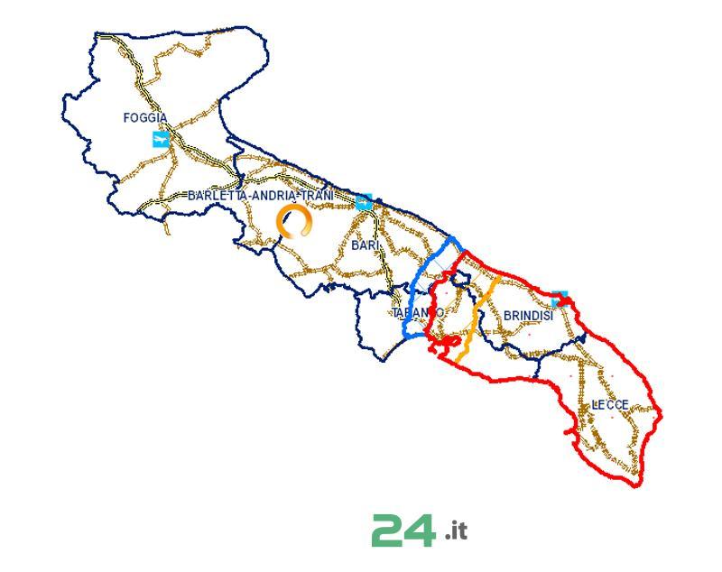 Mappa Xylella Puglia.Noci24 It Xylella Nuova Delimitazione Delle Zone Infetta Cuscinetto E Di Contenimento